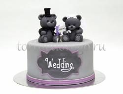 Торты свадебные 1 ярус # Мишутки