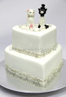 Заказать торт свадебный - Любовь и кошечки