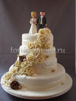 Торт свадебный 4 яруса № 6