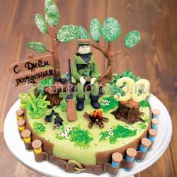 Прикольные торты на день рождения # Охотник у костра