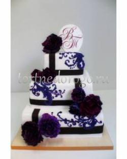 Торт свадебный 3 яруса # Гранатовый цветок