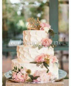 Торт свадебный 3 яруса # Марсель