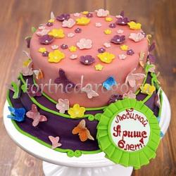Прикольные торты на день рождения # Бабочки, цветочки