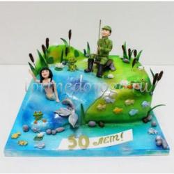 Прикольные торты на день рождения # Рыбак и русалка