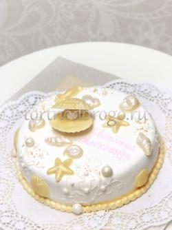 Торт свадебный 1 ярус # Морская романтика