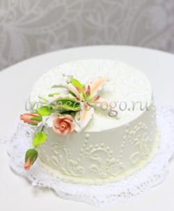Торт свадебный 1 ярус # Лилия любви