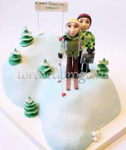 Торт для мужа # Лыжники