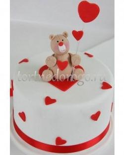 Прикольные торты на день рождения # Торт с мишкойи сердцем