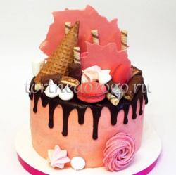 Торт без мастики # Розовые облака