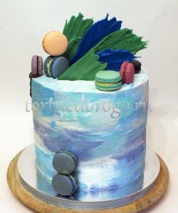 Торт без мастики # Голубой небоскреб
