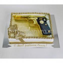 Прикольные торты на день рождения # Золотой пистолет