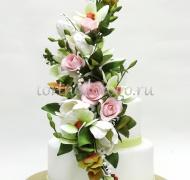 Заказать торт свадебный - Цветочная романтика