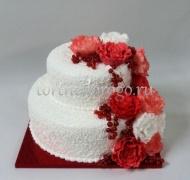 Заказать торт свадебный - Красные цветы