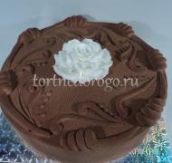 Торт без мастики # Торт с велюром Цветок