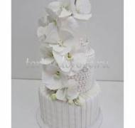 Торт свадебный 3 яруса # Жемчужая орхидея