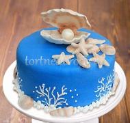 Прикольные торты на день рождения # Синий торт с жемчужиной