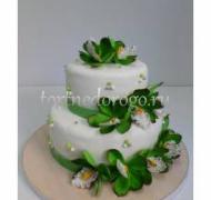Торт свадебный  ярус # Цветы в зелени