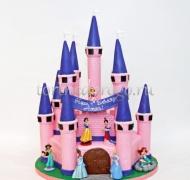 Детский торт # Розовый дворец с принцессами