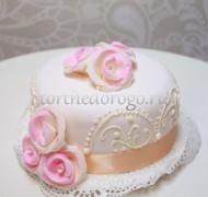 Торт свадебный 1 ярус # Романтика