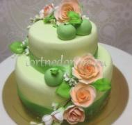 Торт свадебный  ярус # Яблочная любовь