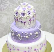 Торт свадебный 3 яруса # Сиреневая свадьба