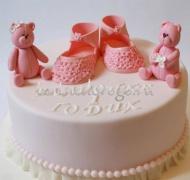 Детский торт # Торт на годик розовые мишки