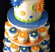 Торты с капкейками и мини пирожными # 6