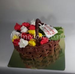 Торты на 8 марта # Тюльпаны в корзине