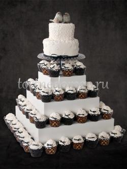 Торты с капкейками и мини пирожными # 5